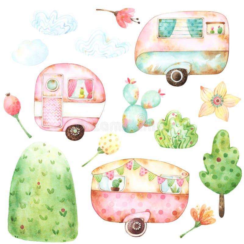 Ordna till för att använda barn illustration somstil ställde in av vattenfärgdiagram inklusive tre retro husvagnar, tre moln, aqu stock illustrationer