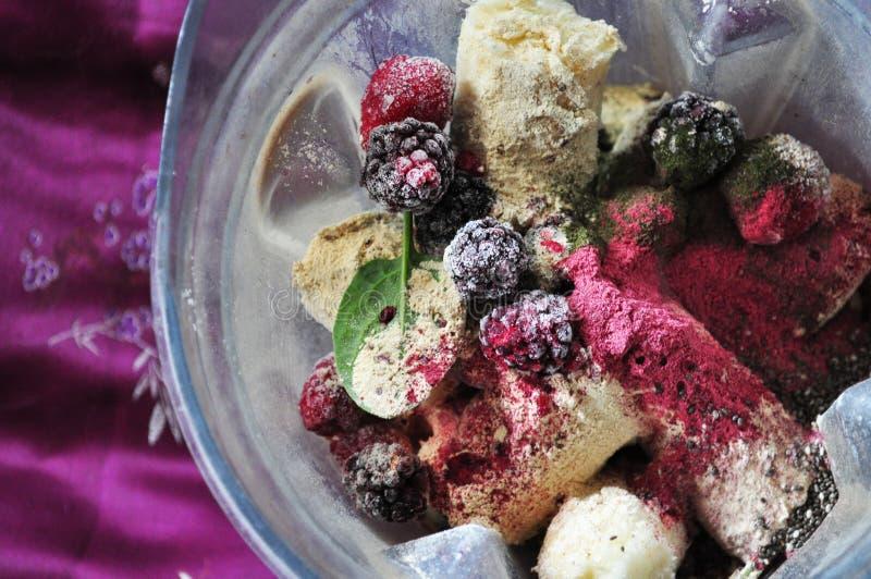 Ordna till för att blanda smoothy med frukt royaltyfri fotografi