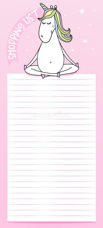 Ordna till för att skriva ut shoppinglistan royaltyfri illustrationer