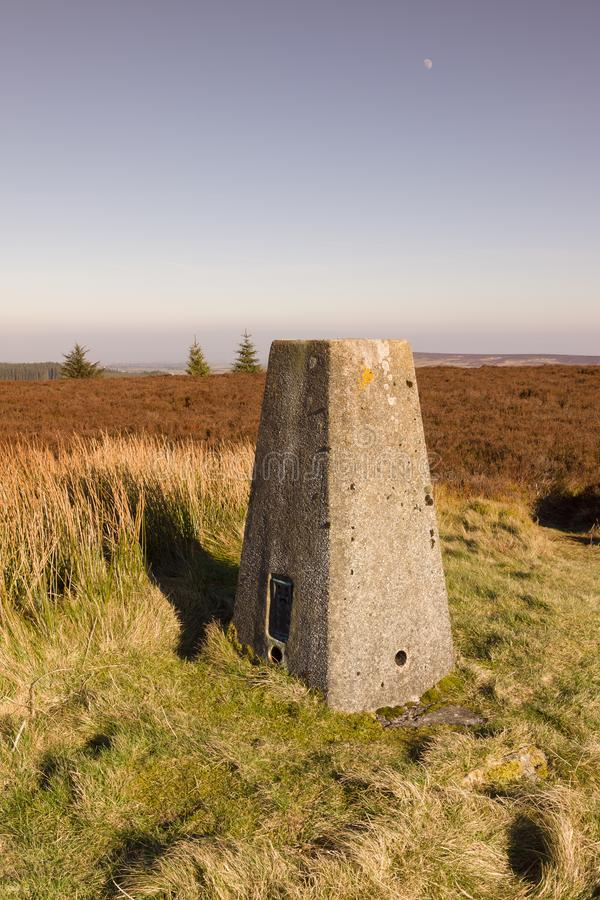 Ordnance Survey Trig Pillar. Ordnance Survey triangulation point or pillar on the summit of Cyrn y Brain North Wales. Built in the 1930s and used for mapping and royalty free stock photos