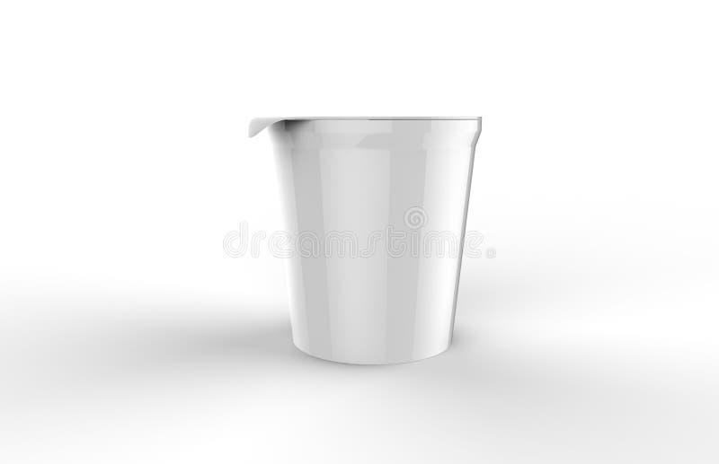 Ordnar till förpackande åtlöje för yoghurt upp mall på isolerad vit bakgrund, för din design, illustrationen 3d stock illustrationer