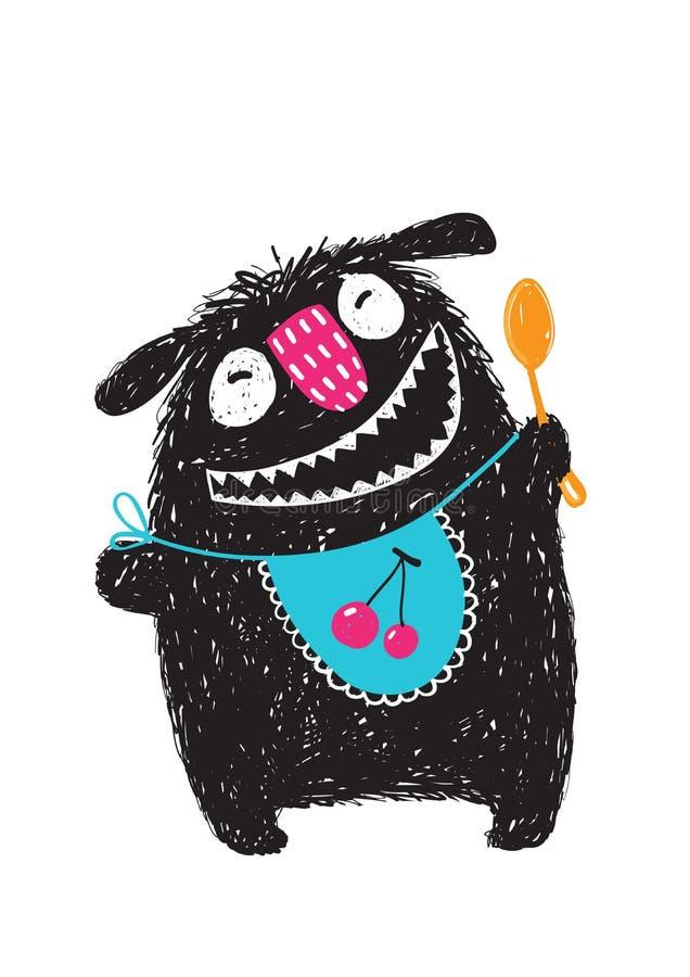 Ordnar till gigantiskt hungrigt för roliga lyckliga gulliga ungar för att äta vektor illustrationer