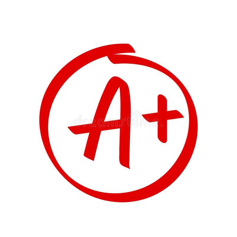 Ordnen Sie eine Plusergebnisvektorikone Handschrift des Schulroten Kennzeichens ein Pluskreis lizenzfreie abbildung