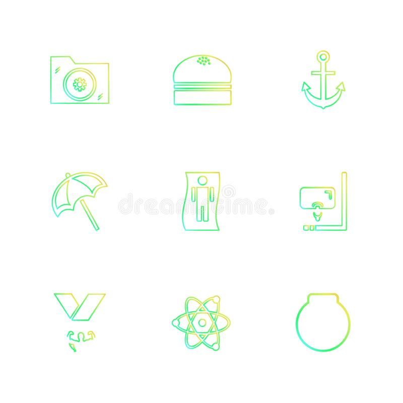 Ordner, Dateien, Sommer, Strand, Picknick, Getränke, ENV-Ikonen eingestellt vektor abbildung