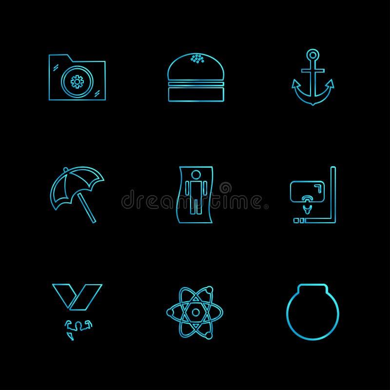 Ordner, Dateien, Sommer, Strand, Picknick, Getränke, ENV-Ikonen eingestellt stock abbildung