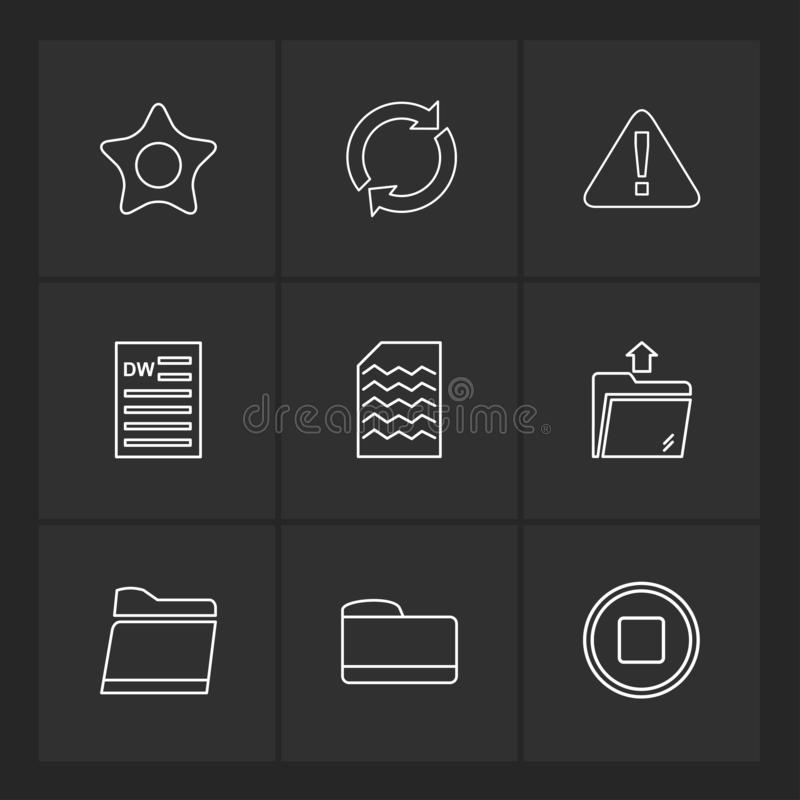 Ordner, Dateien, Verzeichnis, Suche, Code, ENV-Ikonen stellte vecto ein stock abbildung