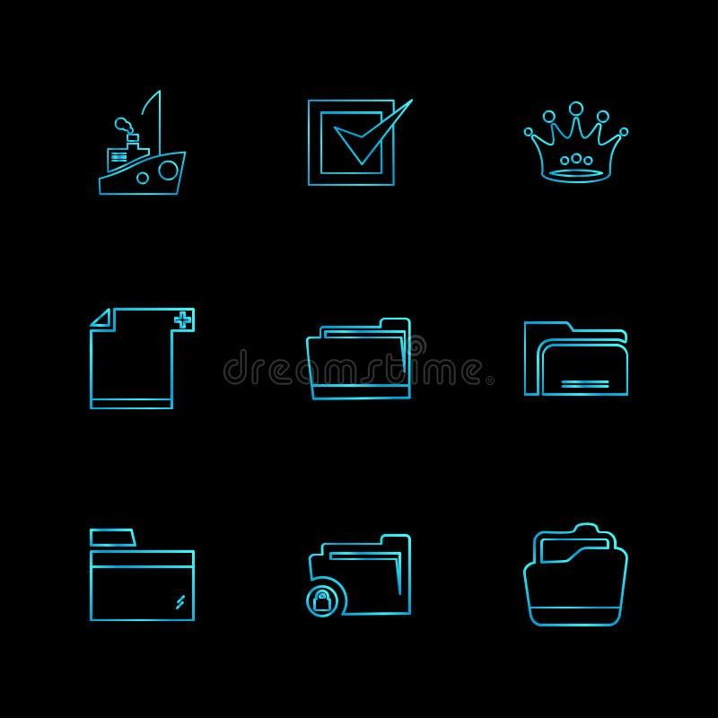 Ordner, Dateien, Verzeichnis, Suche, Code, ENV-Ikonen stellte vecto ein vektor abbildung