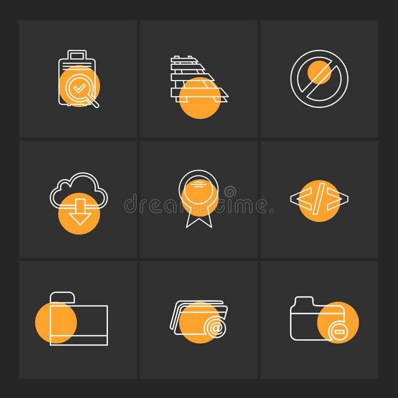 Ordner, Dateien, Verzeichnis, Suche, Code, ENV-Ikonen stellte Vektor ein lizenzfreie abbildung
