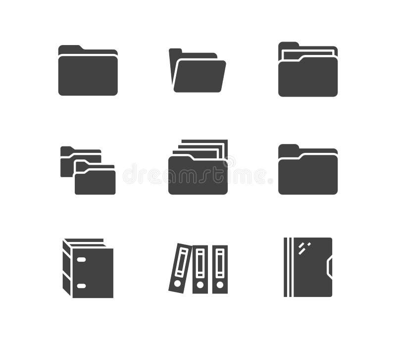 Ordner flache Glyph-Vektorikonen Belegdatei-Vektorillustrationen - das organisierende Geschäftspapier, Computerverzeichnis unterz vektor abbildung