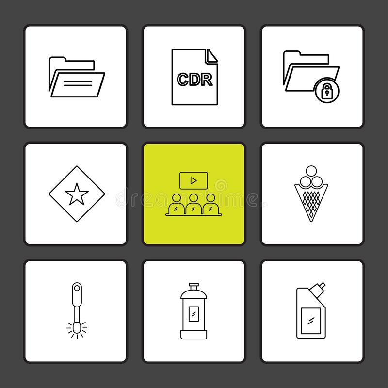 Ordner, Flasche, Dateien, Dateiart, Datei, Fenster, OS, Doc. stock abbildung
