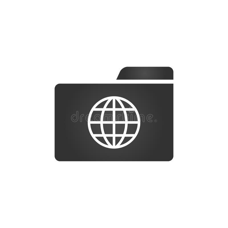 Ordner-Ikone mit der Kugelikone in der modischen flachen Art lokalisiert auf weißem Hintergrund, für Ihr Websitedesign, APP, Logo lizenzfreie abbildung