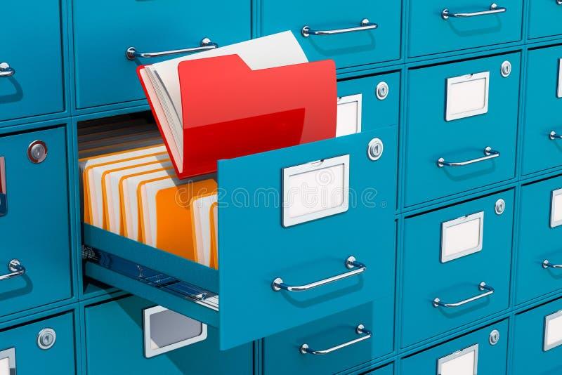 Ordner innerhalb des Aktenschranks, Archivraum Wiedergabe 3d lizenzfreie abbildung