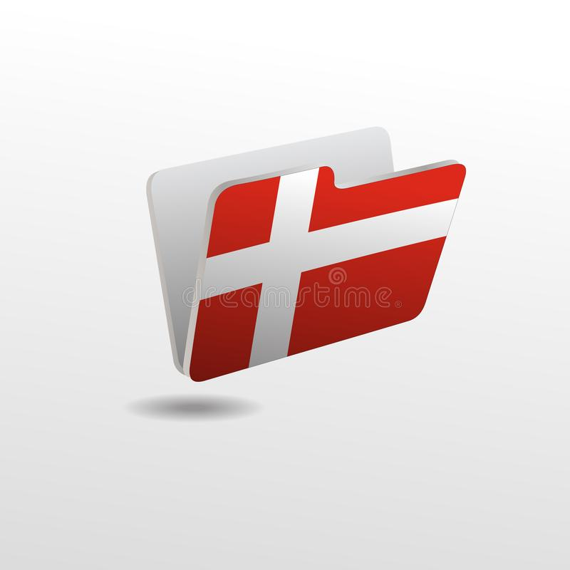 Ordner mit dem Bild der Flagge von DÄNEMARK stock abbildung