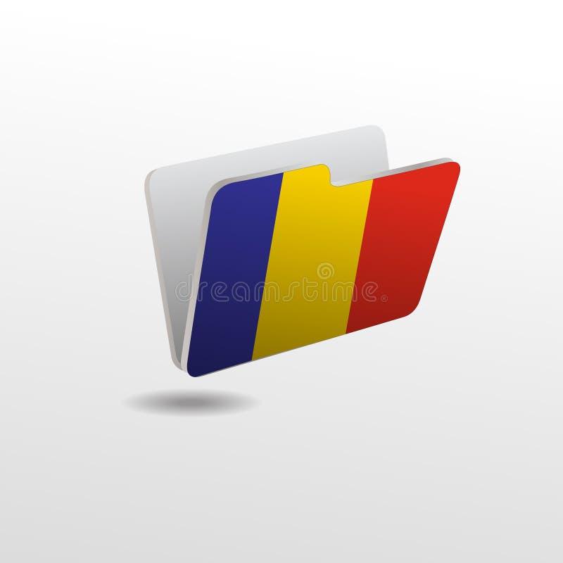 Ordner mit dem Bild der Flagge von RUMÄNIEN stock abbildung