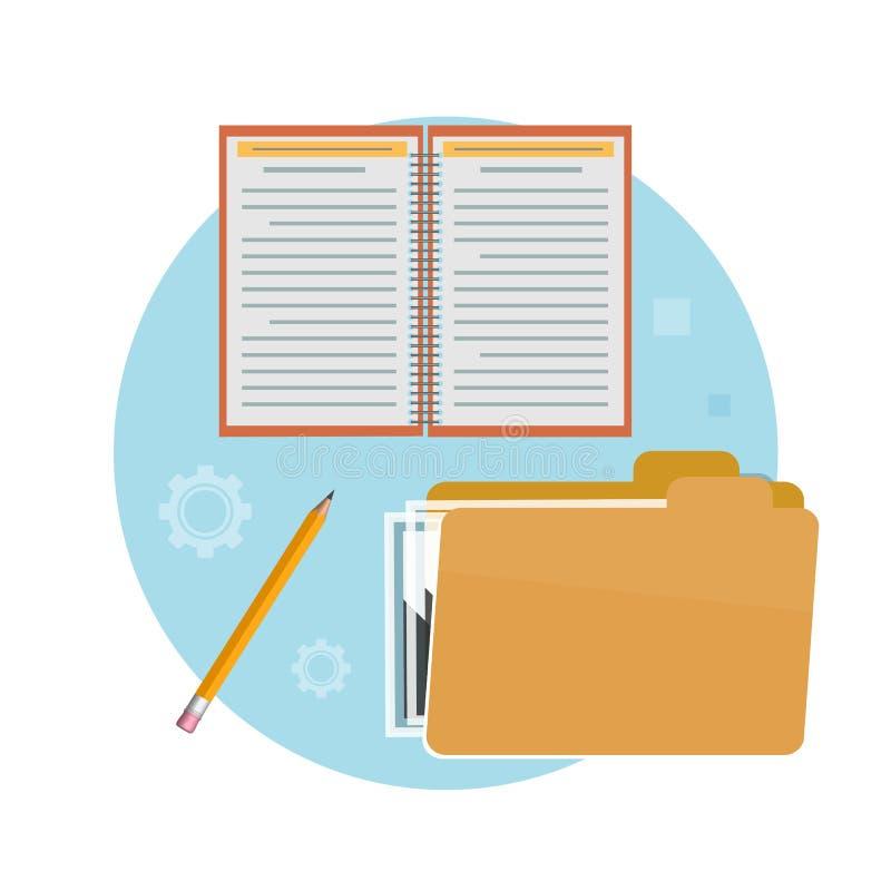 Ordner, Notizbuch und Bleistift stock abbildung