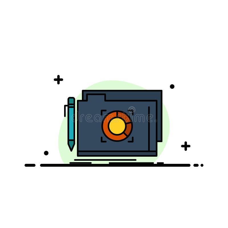 Ordner, Verschluss, Ziel, Datei-Geschäfts-flache Linie füllte Ikonen-Vektor-Fahnen-Schablone vektor abbildung