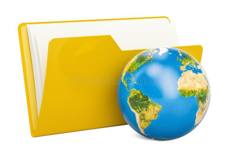 Ordnercomputerikone mit Erdkugel, Wiedergabe 3D lizenzfreie abbildung