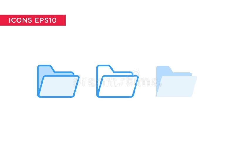 Ordnerikone in der Linie, in Entwurf, in gefülltem Entwurf und in der flachen Entwurfsart lokalisiert auf weißem Hintergrund Vekt vektor abbildung