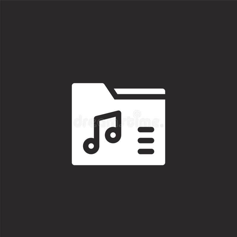 Ordnerikone Gefüllte Ordnerikone für Websiteentwurf und Mobile, Appentwicklung Ordnerikone von gefüllten Musikmultimedia stock abbildung