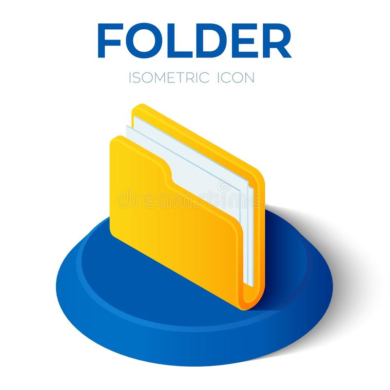 Ordnerikone isometrisches Zeichen des Ordners 3D Geschaffen für Mobile, Netz, Dekor, Druck-Produkte, Anwendung Vervollkommnen Sie lizenzfreie abbildung