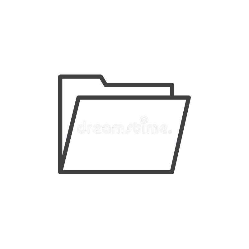 Ordnerlinie Ikone, Entwurfsvektorzeichen, lineares Artpiktogramm lokalisiert auf Weiß lizenzfreie abbildung