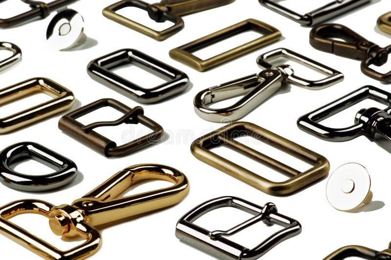 Ordning av läderherrekiperingsartiklar arkivbild