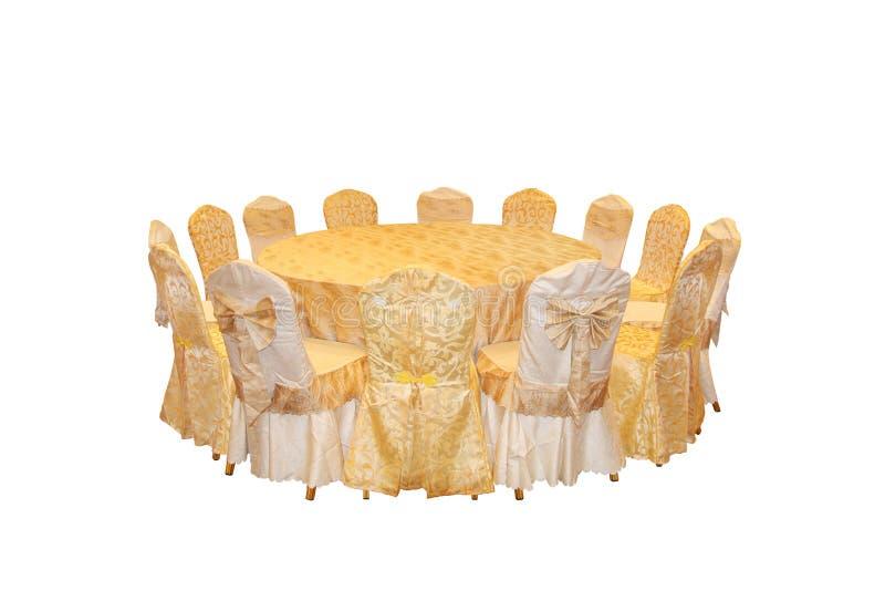 Ordningsstolar äter Middag Den Runda Tabellen Till Arkivbild