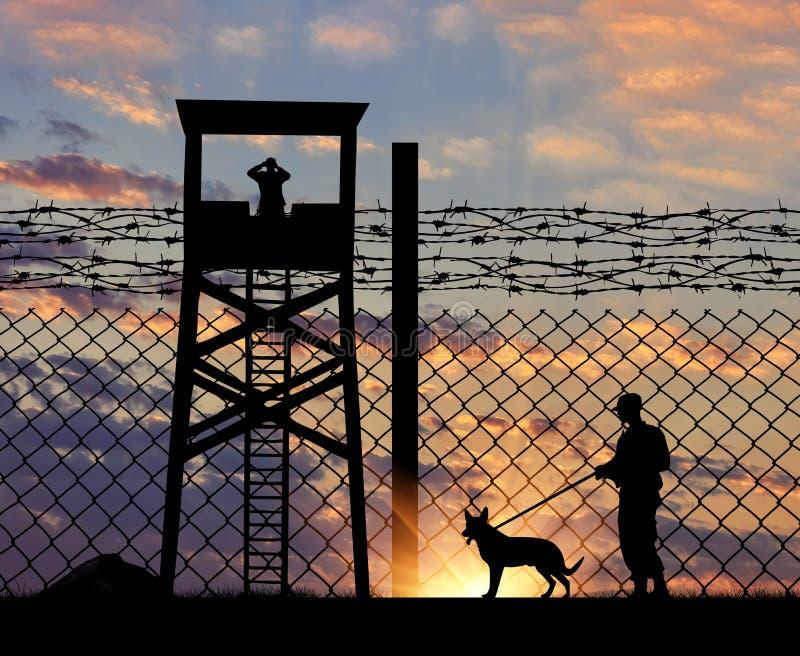 Ordningsvakt med hunden på gränsen royaltyfri fotografi