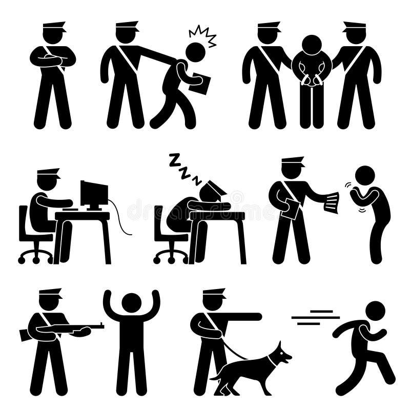 Ordningsvaktpolistjuv stock illustrationer