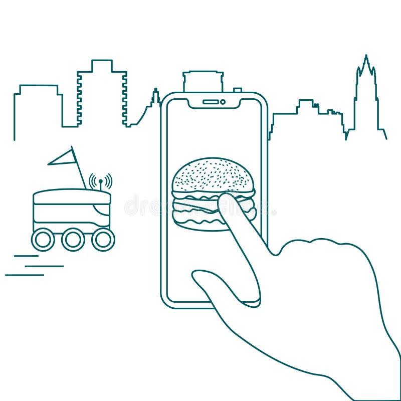 Ordre dans le téléphone intelligent APP, la livraison avec le robot illustration de vecteur