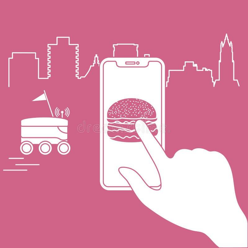 Ordre dans le téléphone intelligent APP, la livraison avec le robot illustration stock