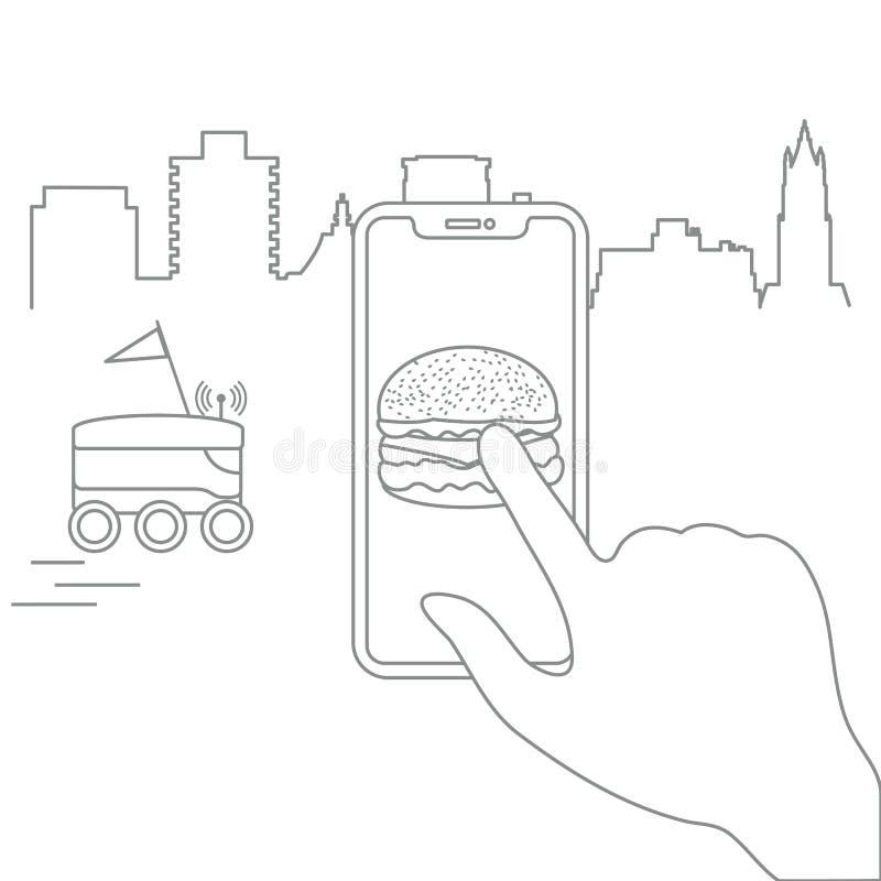 Ordre dans le téléphone intelligent APP, la livraison avec le robot illustration libre de droits