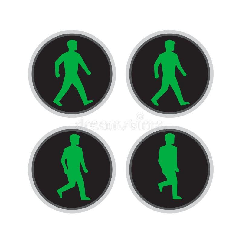 Ordre de cycle de promenade d'homme de feu de signalisation illustration de vecteur