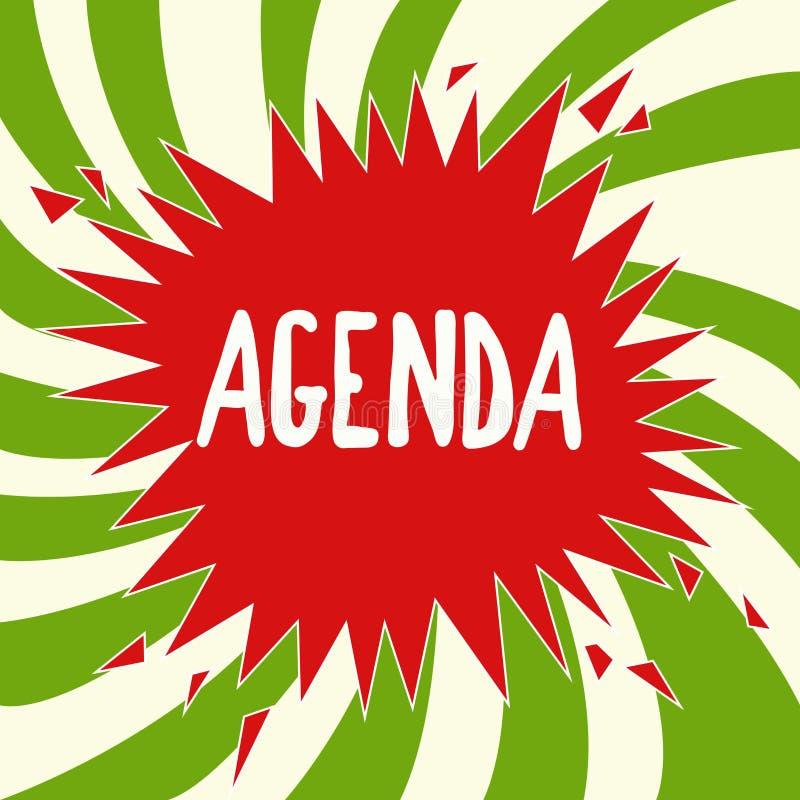 Ordre du jour d'écriture des textes d'écriture Le concept signifiant pour faire la liste d'articles soit discuté lors de la réuni photographie stock libre de droits