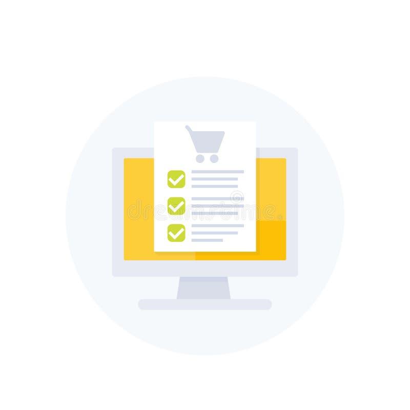 Ordre en ligne, forme d'achat, commerce électronique illustration de vecteur