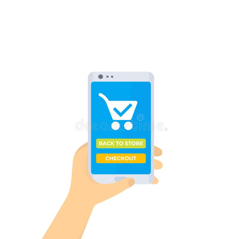 Ordre et achat en ligne, achats mobiles illustration de vecteur
