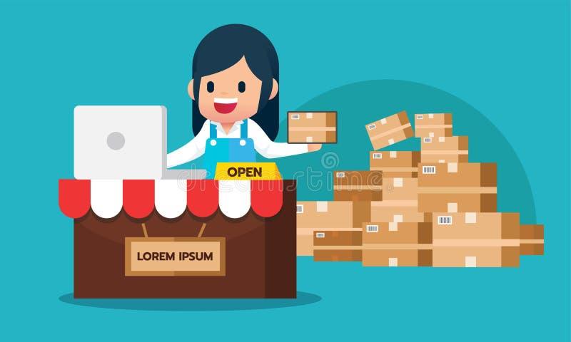 Ordre heureux de contrôle de fille d'ordinateur portable le commerce électronique en ligne de achat stockent le concept avec le p illustration libre de droits