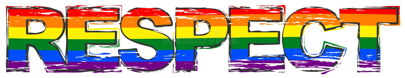 OrdRESPEKT med regnbågeflaggasymbol av LBGT under det, bekymrad grungeblick vektor illustrationer