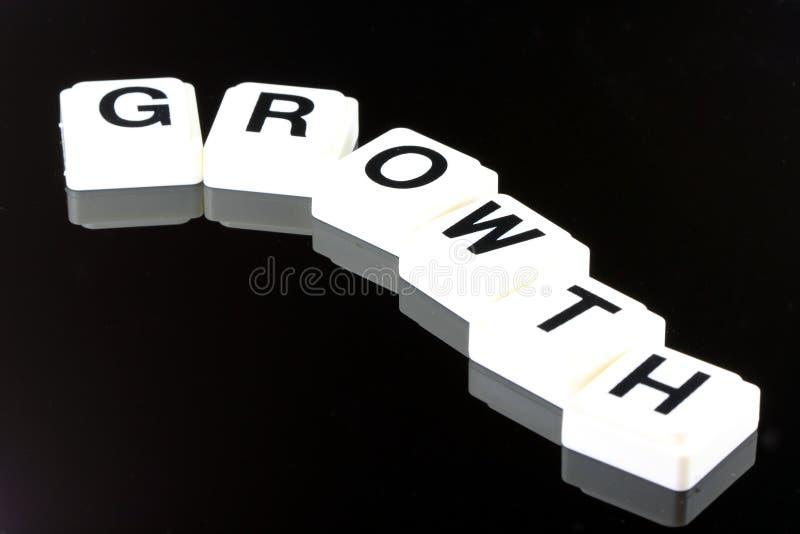 Ordtillväxten - ett uttryck som används för affär i finans- och aktiemarknadhandel royaltyfri foto
