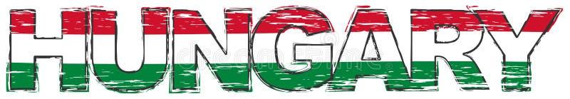 OrdUNGERN med den ungerska nationsflaggan under den, bekymrad grungeblick royaltyfri illustrationer