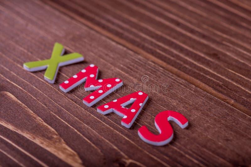 OrdXmas från träbokstäver royaltyfri fotografi