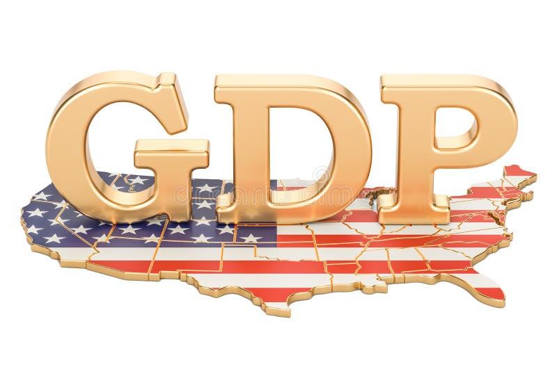 Ordynarny produktu krajowego GDP usa pojęcie, 3D rendering royalty ilustracja