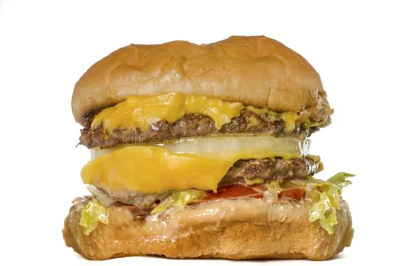 Ordynarny tłusty hamburger zdjęcie stock