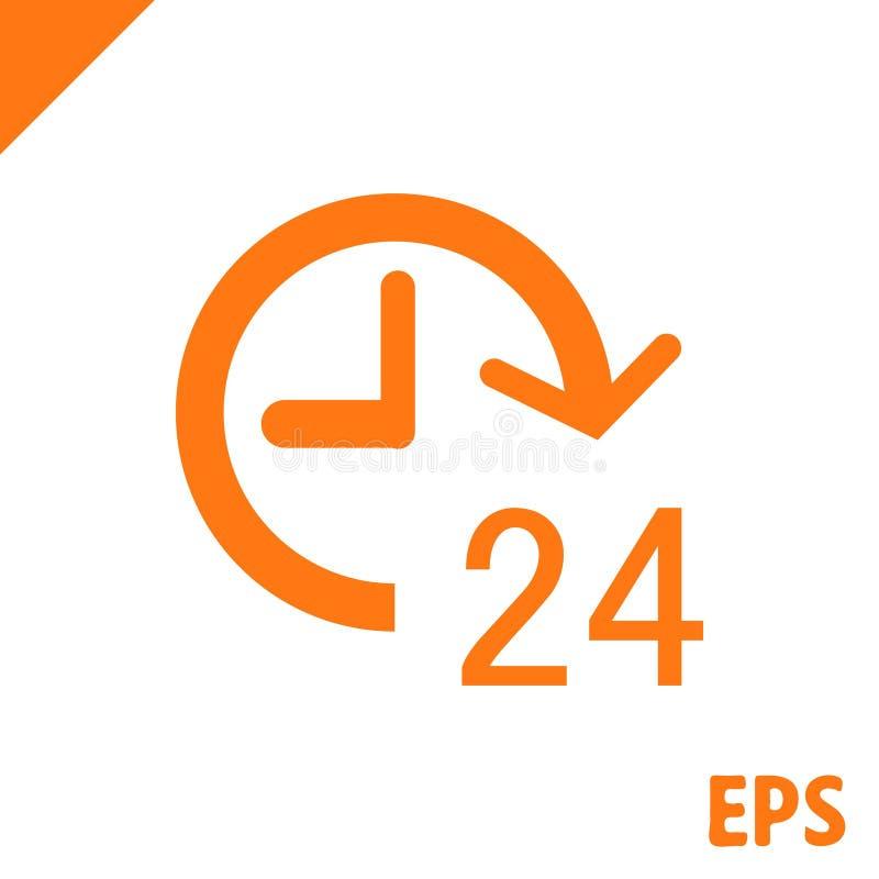 24 ore dell'icona delle azione di vettore di progettazione piana dell'illustrazione royalty illustrazione gratis