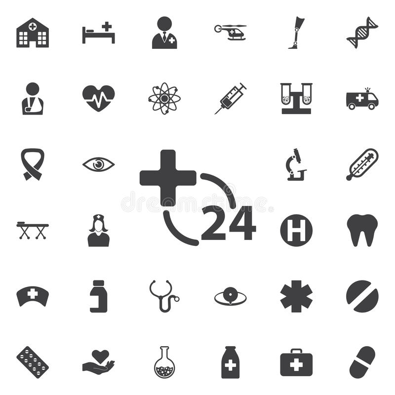 Ore di icona di servizio medico sui precedenti bianchi Ospedale illustrazione vettoriale