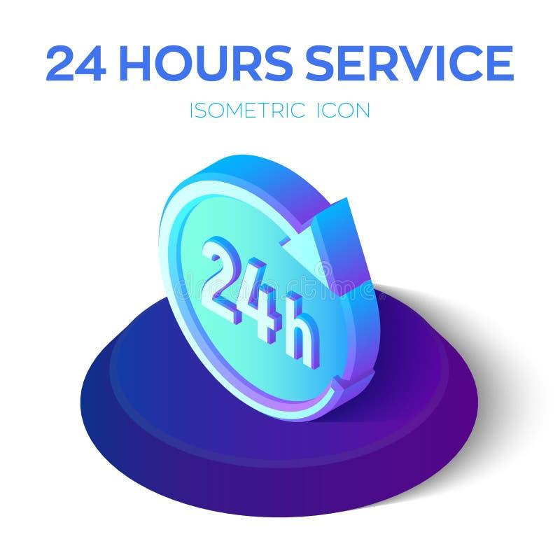 24 ore di icona 24 ore di segno isometrico di servizio 3d simbolo di tempo Creato per il cellulare, web, decorazione, prodotti de royalty illustrazione gratis