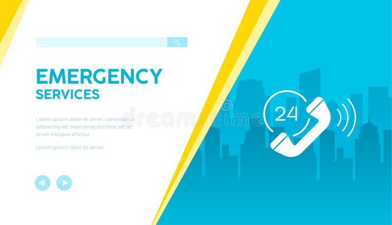 24 ore di servizi di soccorso di insegna di vettore royalty illustrazione gratis