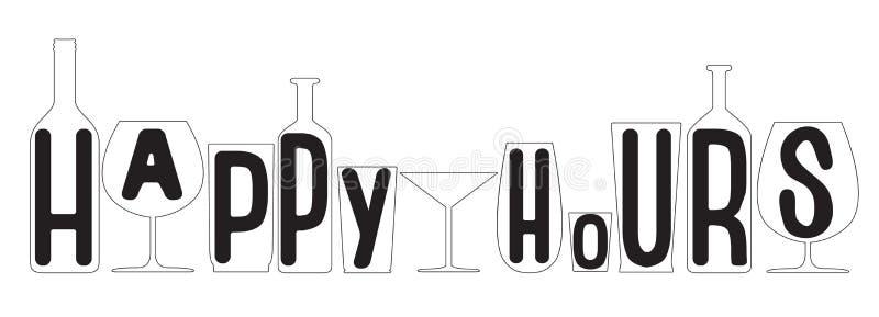 Ore felici Siluette trasparenti di vetro e delle bottiglie Vettore illustrazione di stock