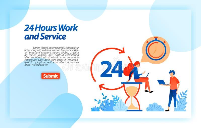 24 ore funzionano il servizio di assistenza al cliente per sostenere gli utenti nel migliorare le informazioni ed i servizi in qu illustrazione vettoriale