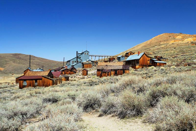 Ore Mill and Workers Houses in Bodie State Historic Site, California, USA. The ore upgrader and workers houses in Bodie State Historic Site are scattered on the stock images